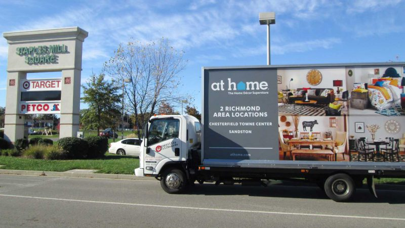 Billboard truck promoting At Home Furniture stores in Richmond VA.