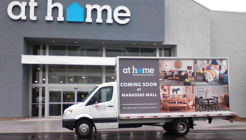 Billboard truck promotion the soon to open At Home store in Manassas VA