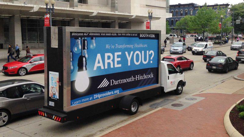 Mobile billboard truck in Washington DC featuring an employee recruiting ad.