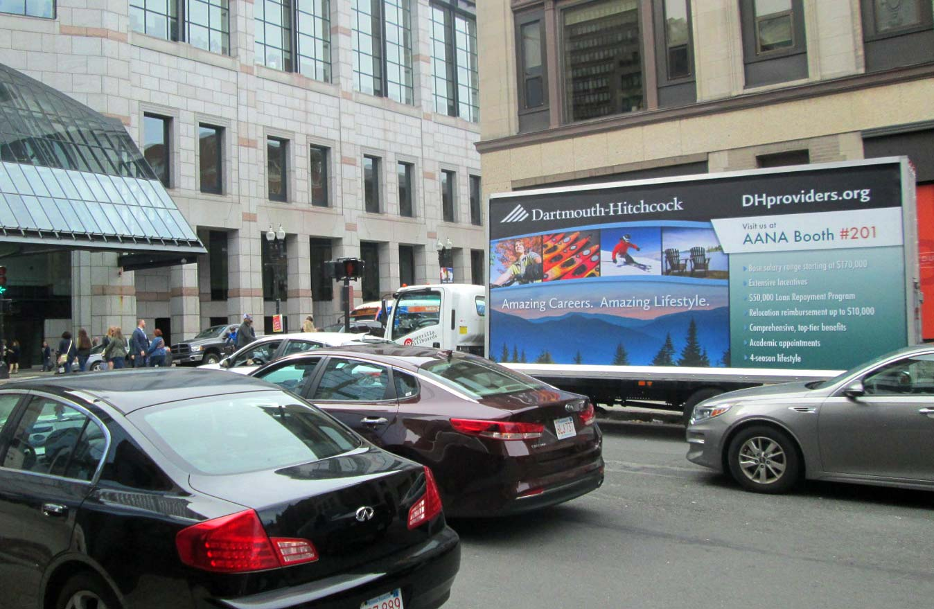 Billboard truck in at the Hynes Convention Center in Boston with an employee recruiting ad