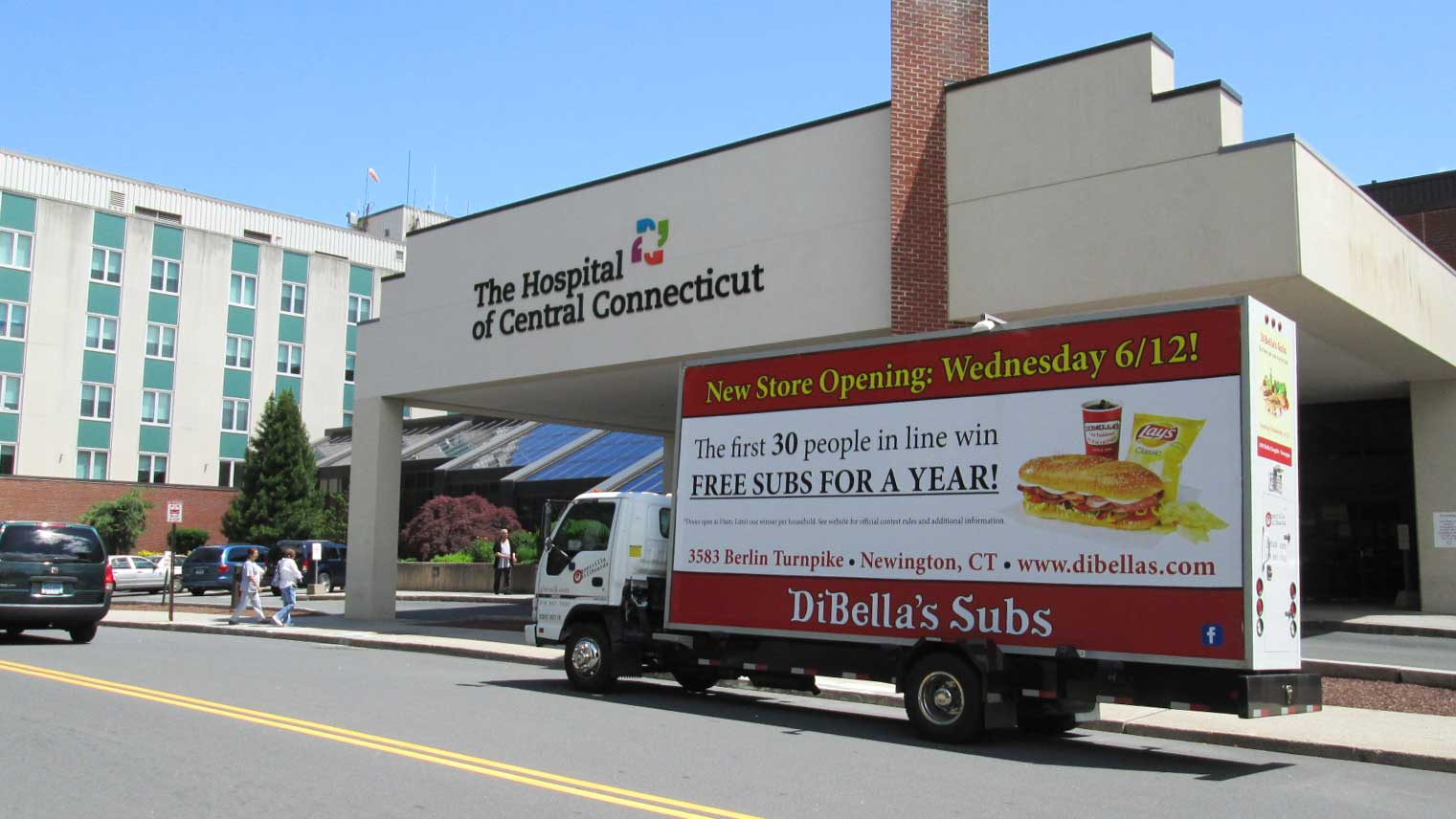 Billboard truck featuring a New Restaurant Opening Ad