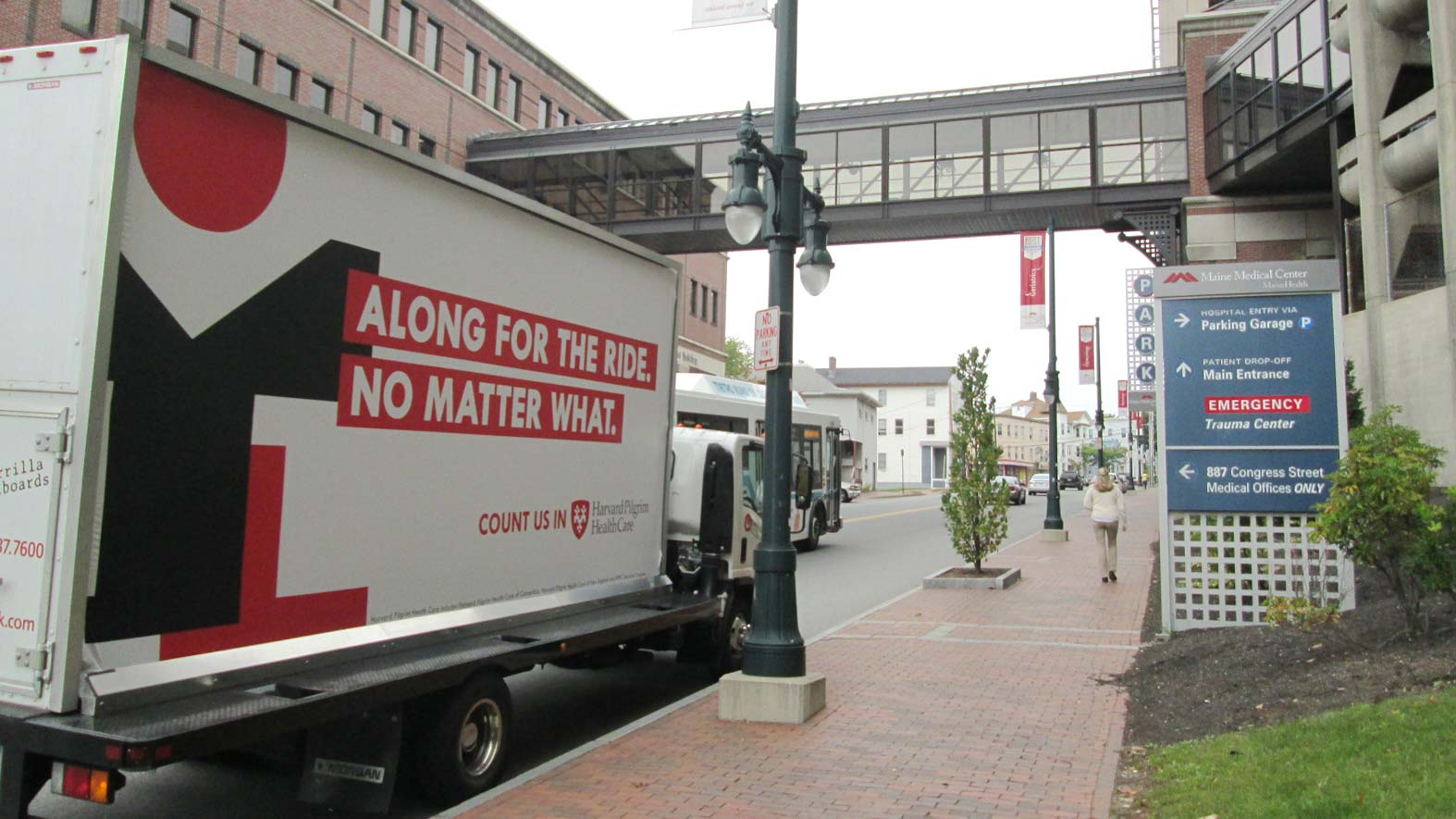 Mobile billboard truck stopped at Maine Medical Center, Portland.