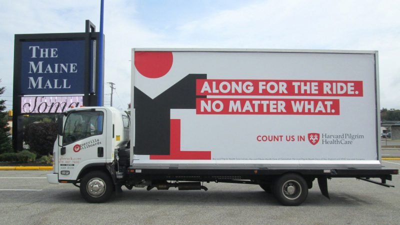 Billboard truck stopped at the Maine Mall in South Portland