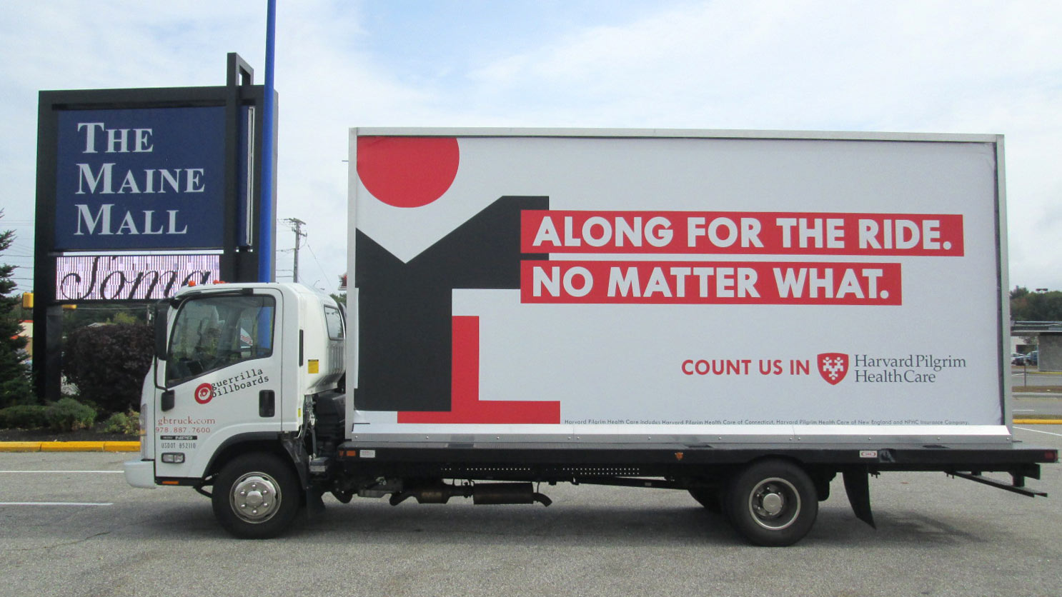 Billboard truck stopped at the Maine Mall in South Portland ME