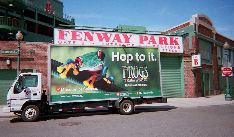 Mobile billboard truck promoting the Museum of Science in Boston.