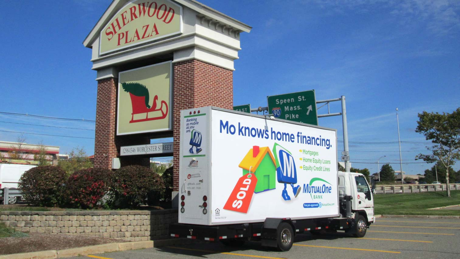 Billboard truck advertising home equity loans and residential mortgages near Boston.