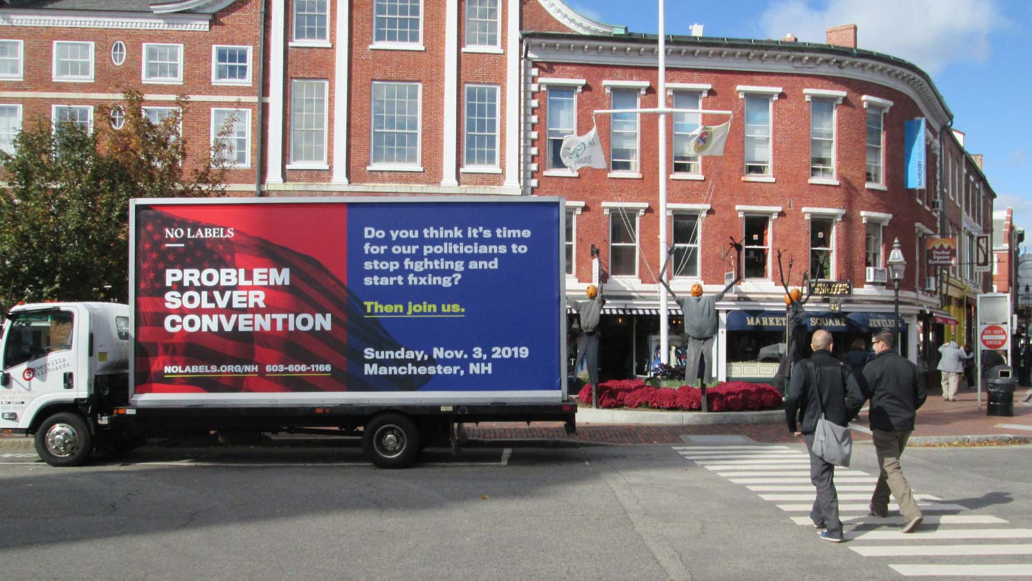 Mobile billboard truck in Market Square, Portsmouth NH
