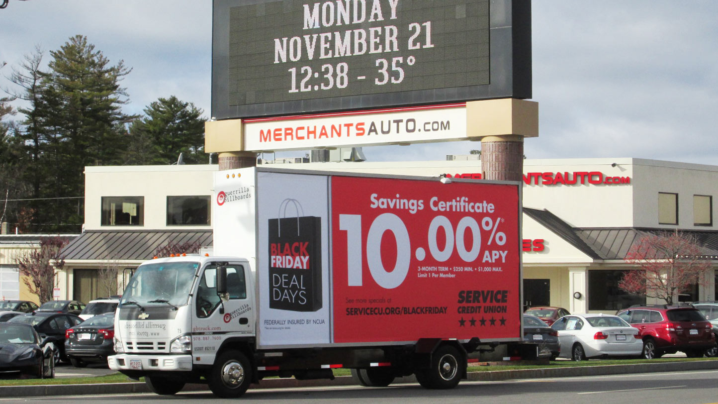 Mobile billboard truck in Manchester NH