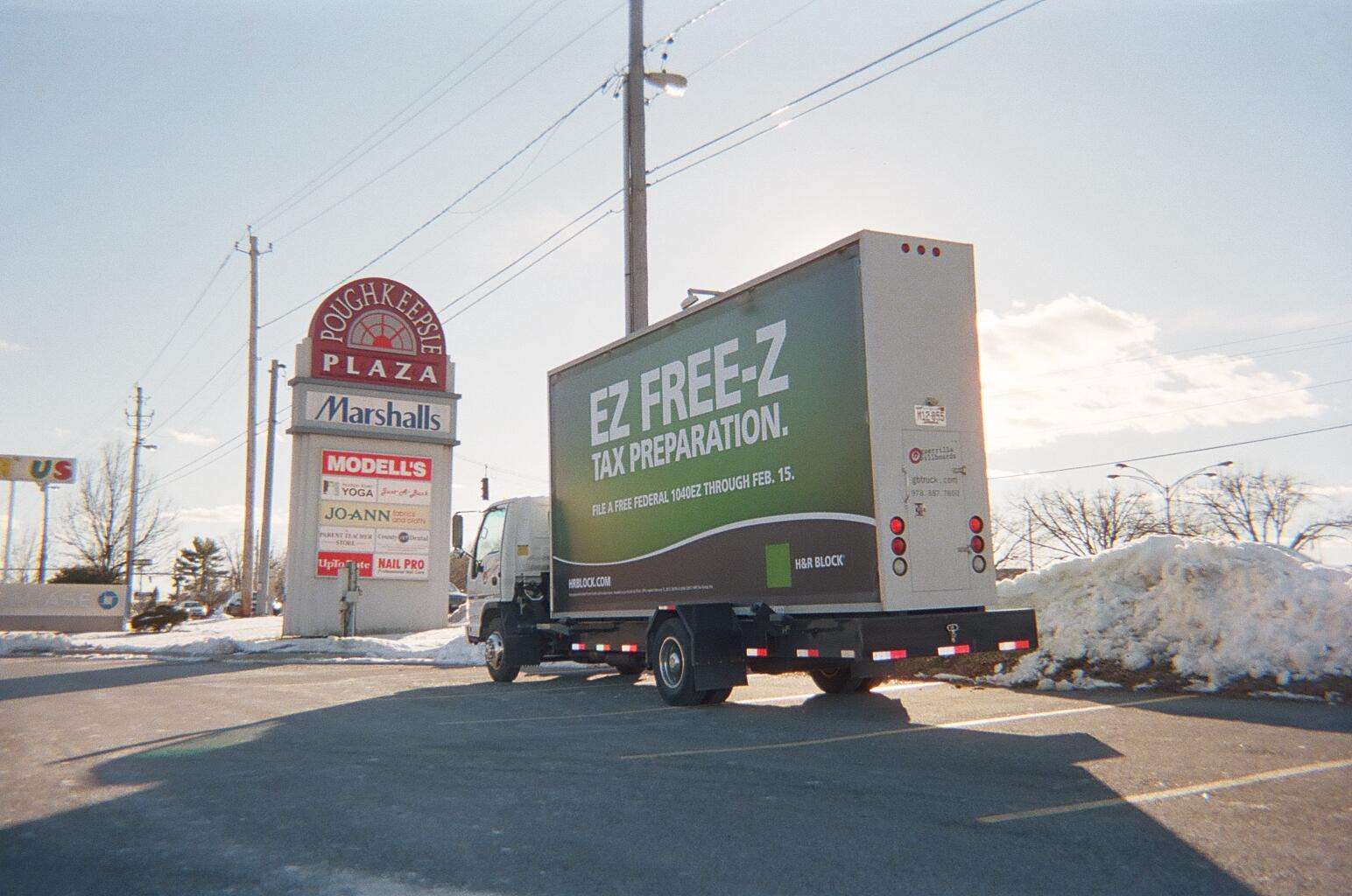 Poughkeepsie NY - H&R Block Mobile Billboard Ad Campaign
