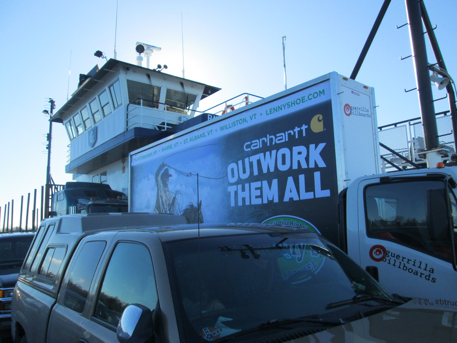 Mobile billboard truck aboard the Lake Champlain Ferry heading to Plattsburgh NY