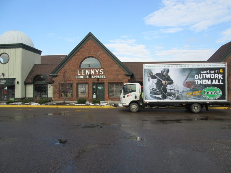 Now Open billboard truck ad for Lenny's Shoes