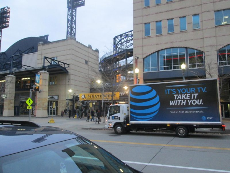 Billboard truck stopped in front of PNC Park, Pittsburgh