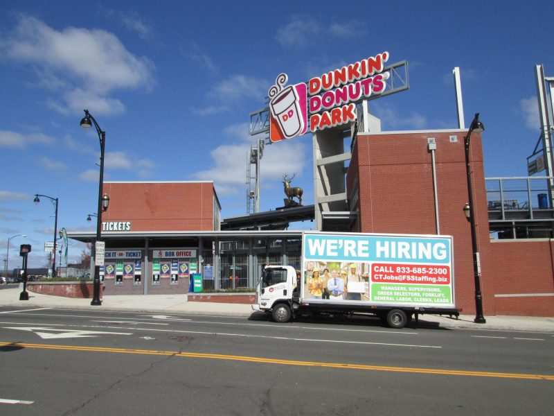 We're Hiring ad on a billboard ruck in Hartford CT