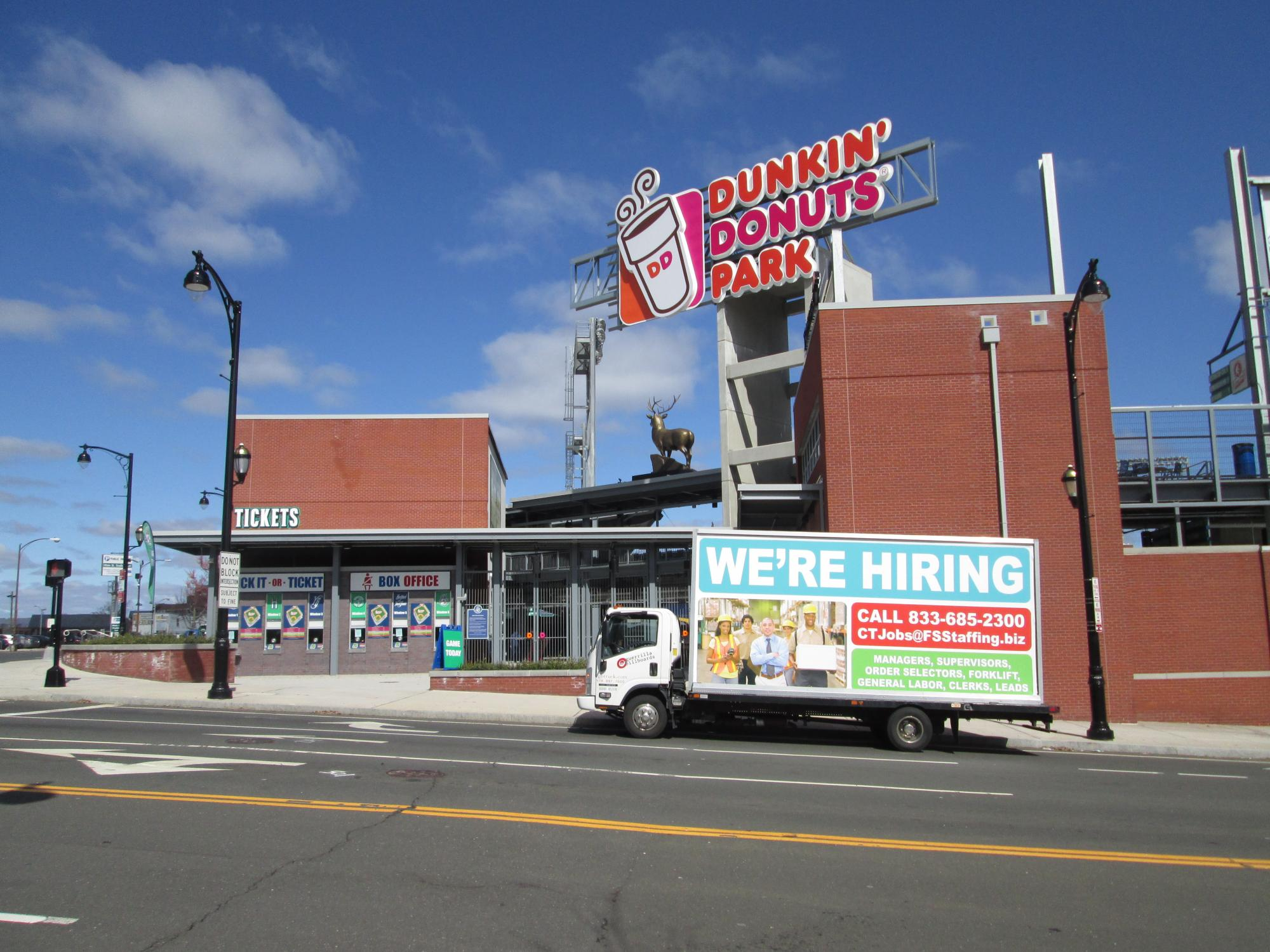We're Hiring ad on a billboard truck in Hartford CT
