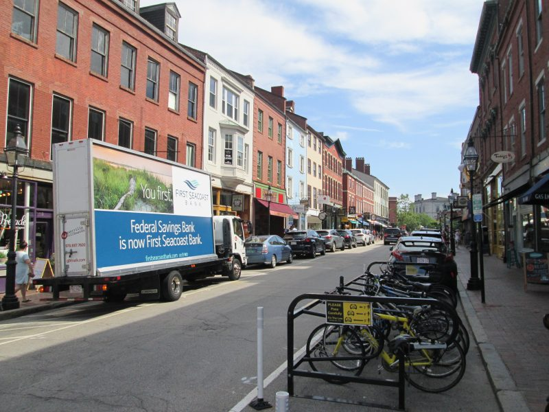 First Secoast Bank billboard truck ad in downtown Portsmouth NH