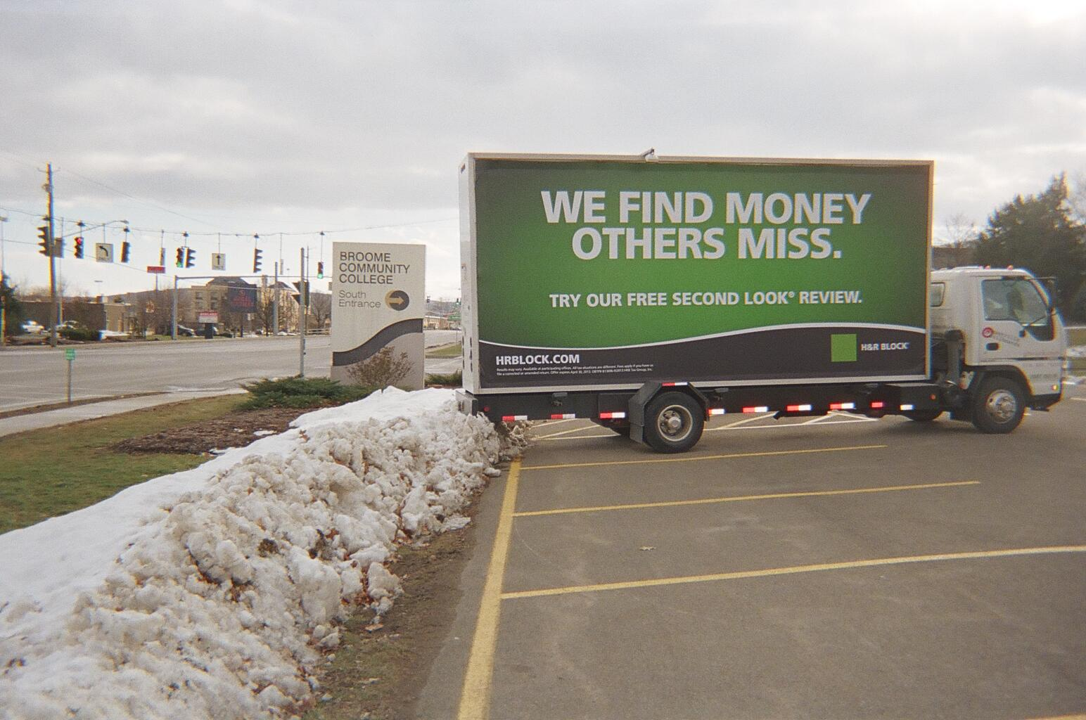H&R Block billboard truck in Binghamton NY