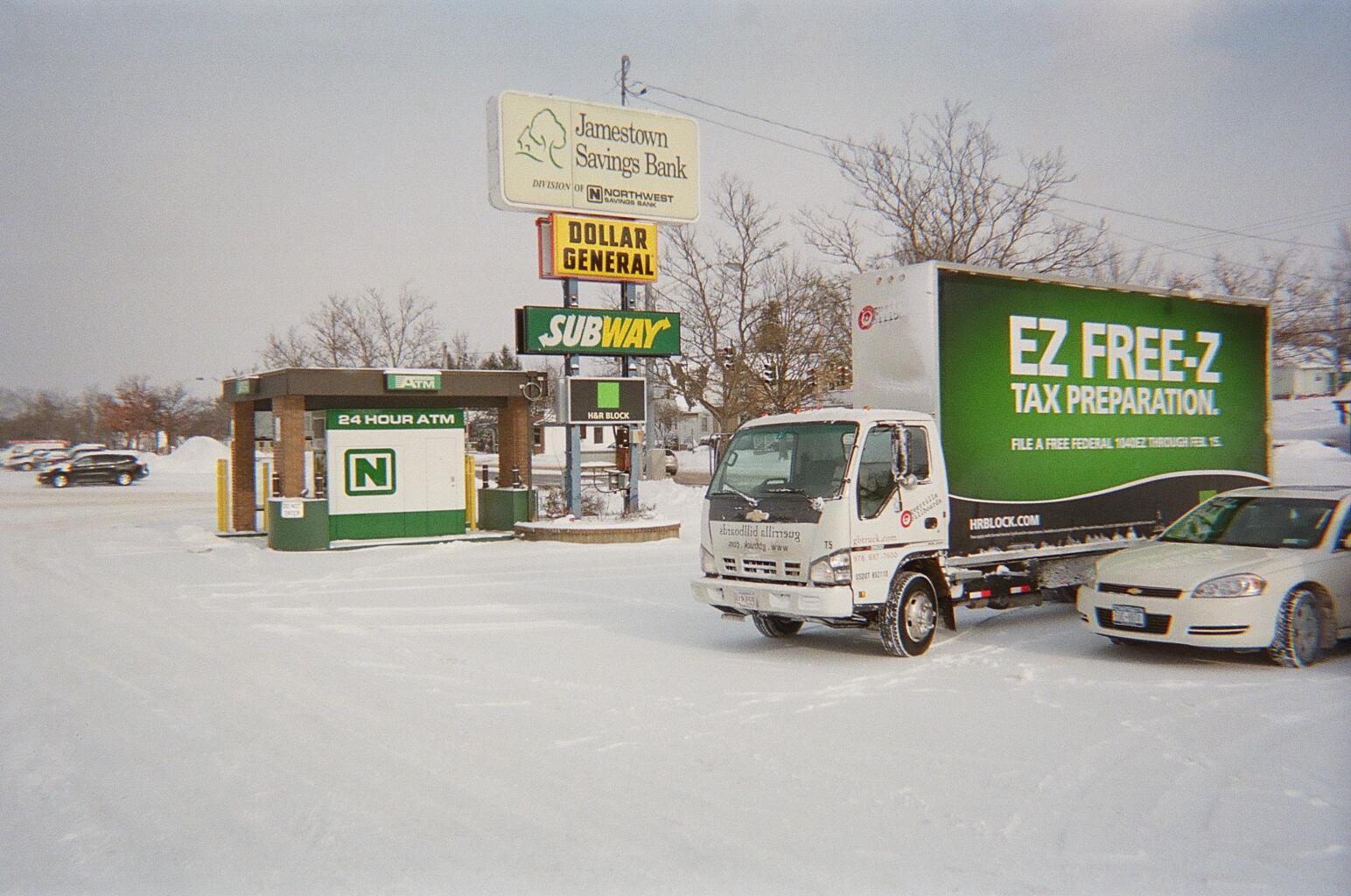 H&RB Block billboard truck in Jamestown NY