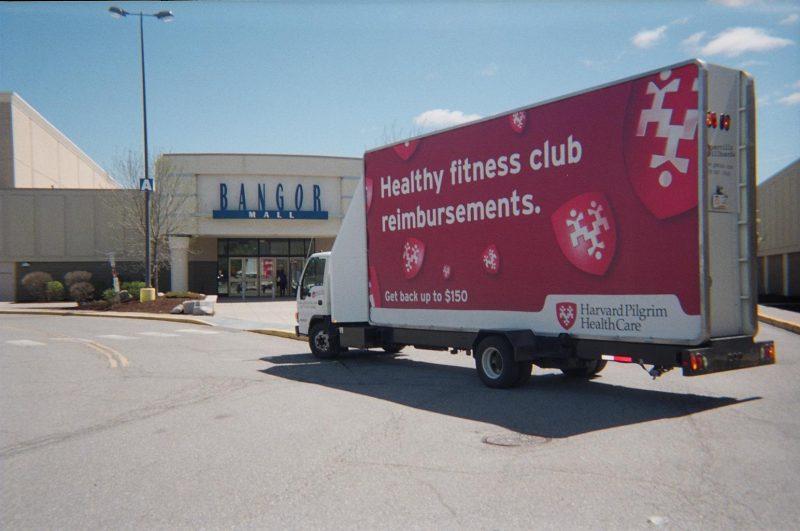 Billboard truck at the Bangor Mall, Bangor Maine