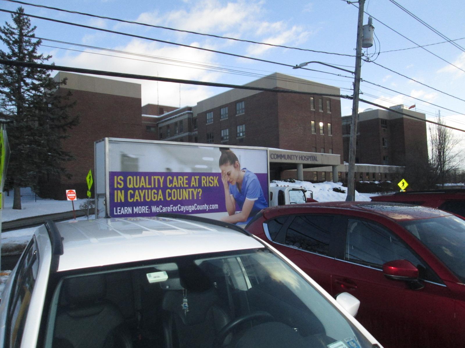 Mobile billboard ad supporting a health care labor union