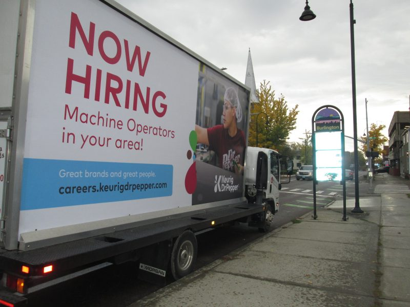 Mobile billboard truck in Burlington VT