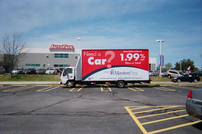 Auto loan ad on a billboard truck in Merrimack NH
