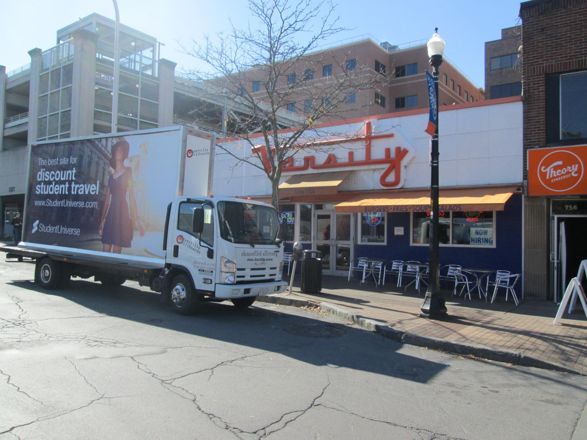 Mobile billboard truck at Syracuse University