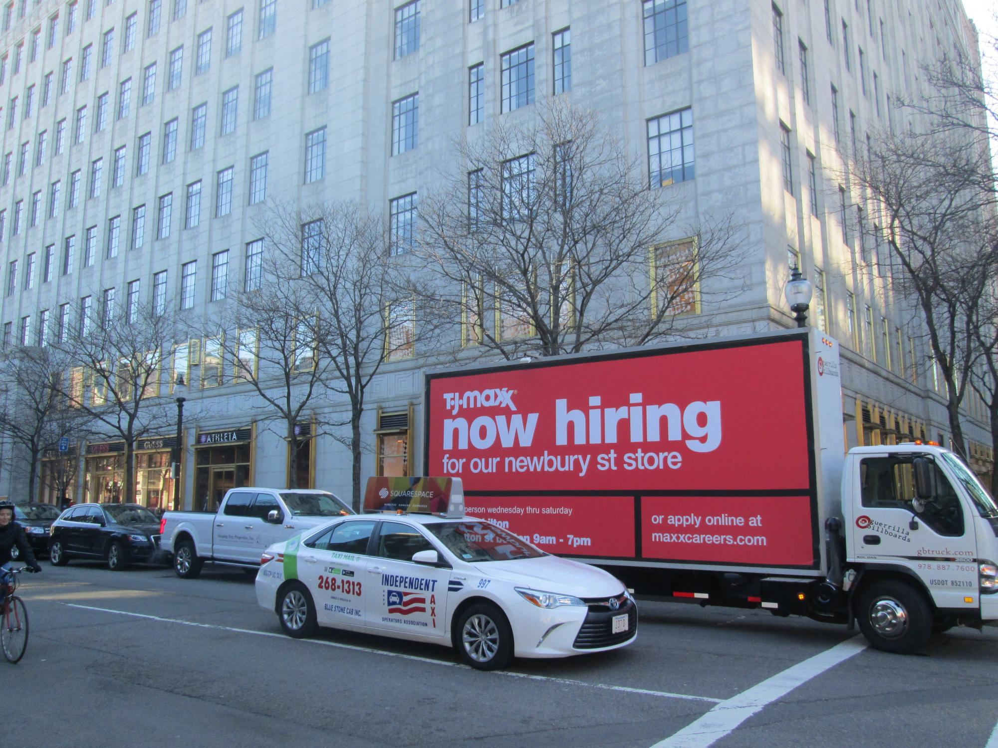 TJ Maxx NOW HIRING billboard truck ad in Boston