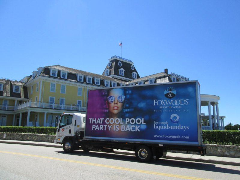 Billboard truck in Watch Hill RI