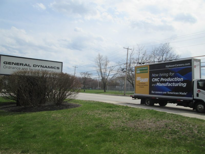 Employee recruting billboard truck ad in Southern Maine