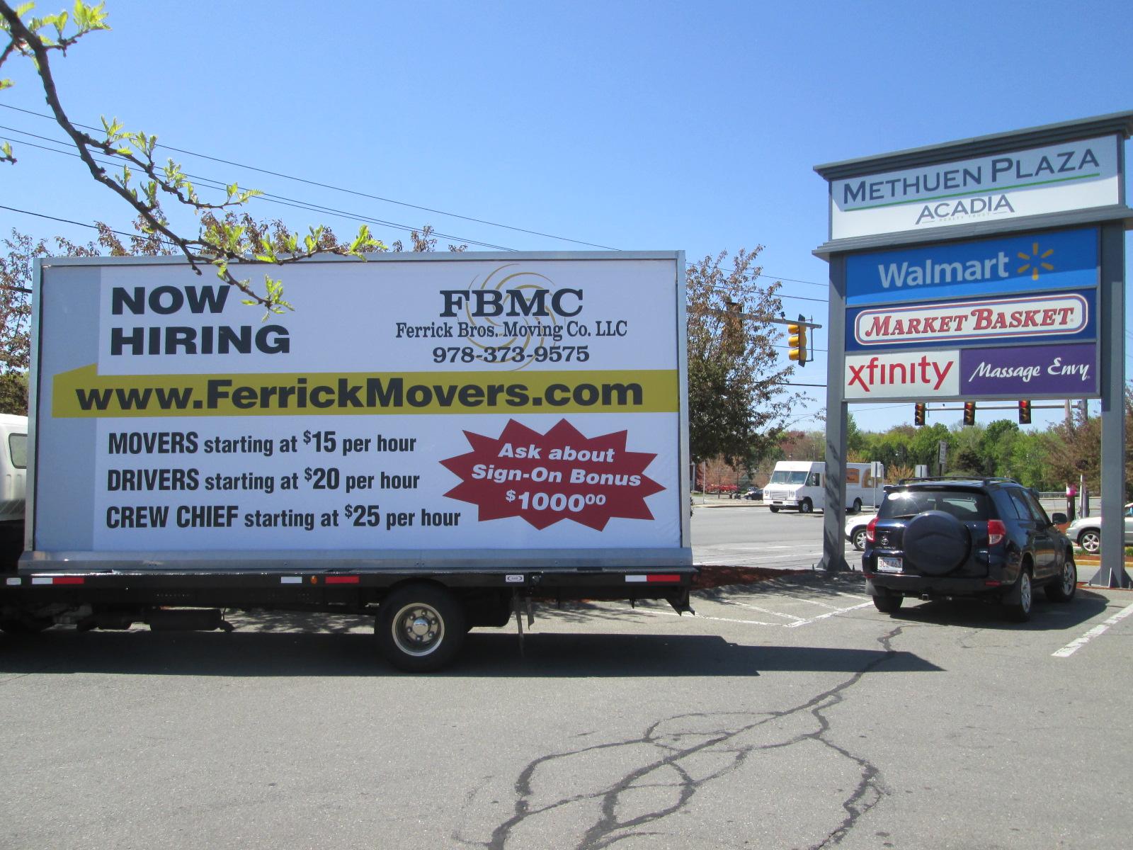 Mobile billboard truck at Methuen Plaza in Methuen MA