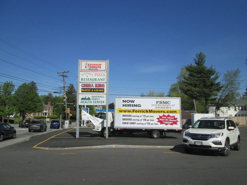 NOW HIRING billboard truck ad in Haverhill MA
