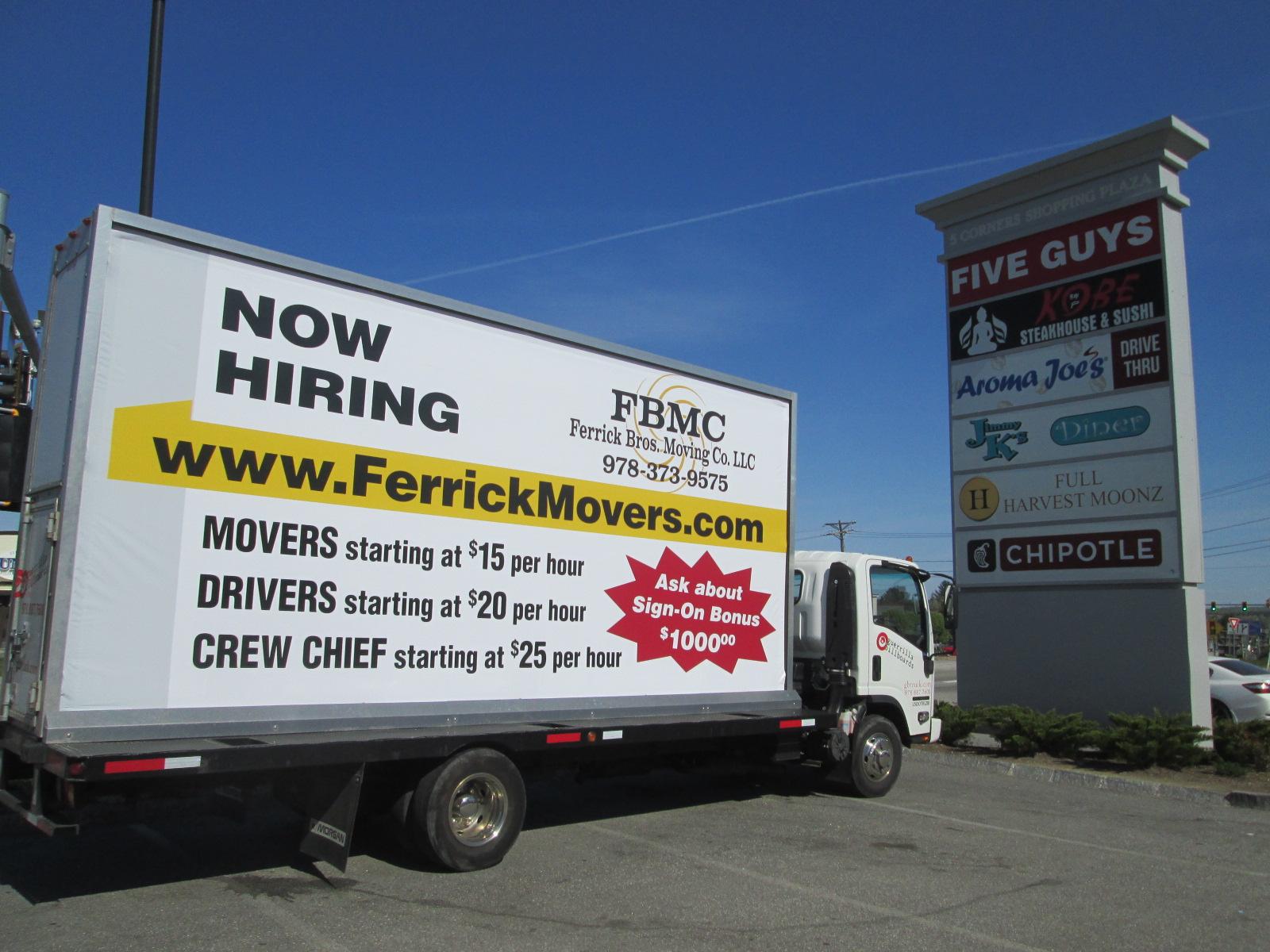 Mobile billboard truck at 5 Corners Shopping Plaza in Haverhill MA