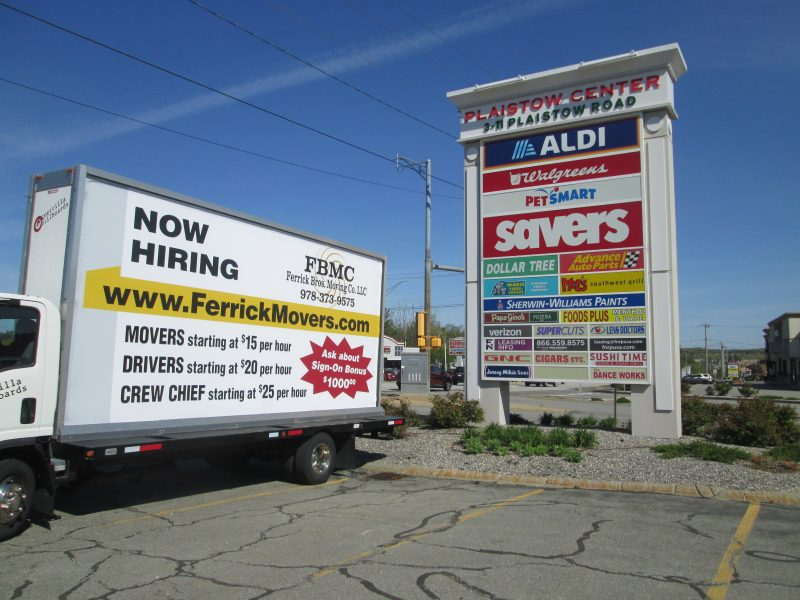 NOW HIRING mobile billboard ad in Plaistow NH