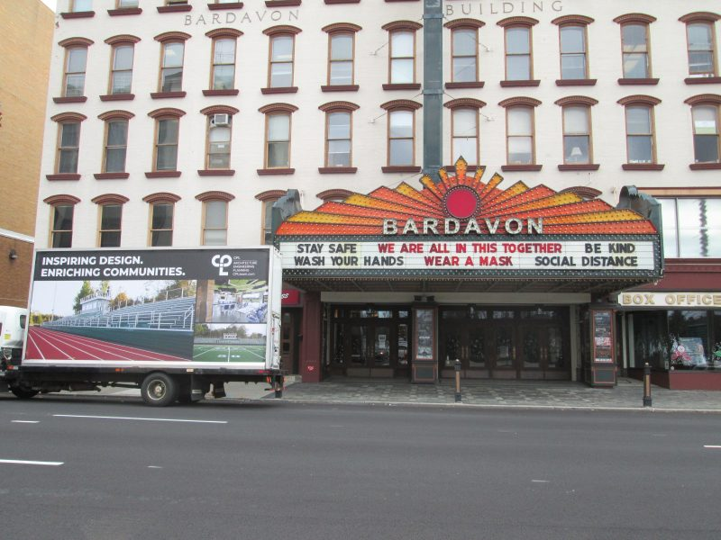 Mobile billboard stopped at the Bardavon Theater in Poughkeepsie NY.