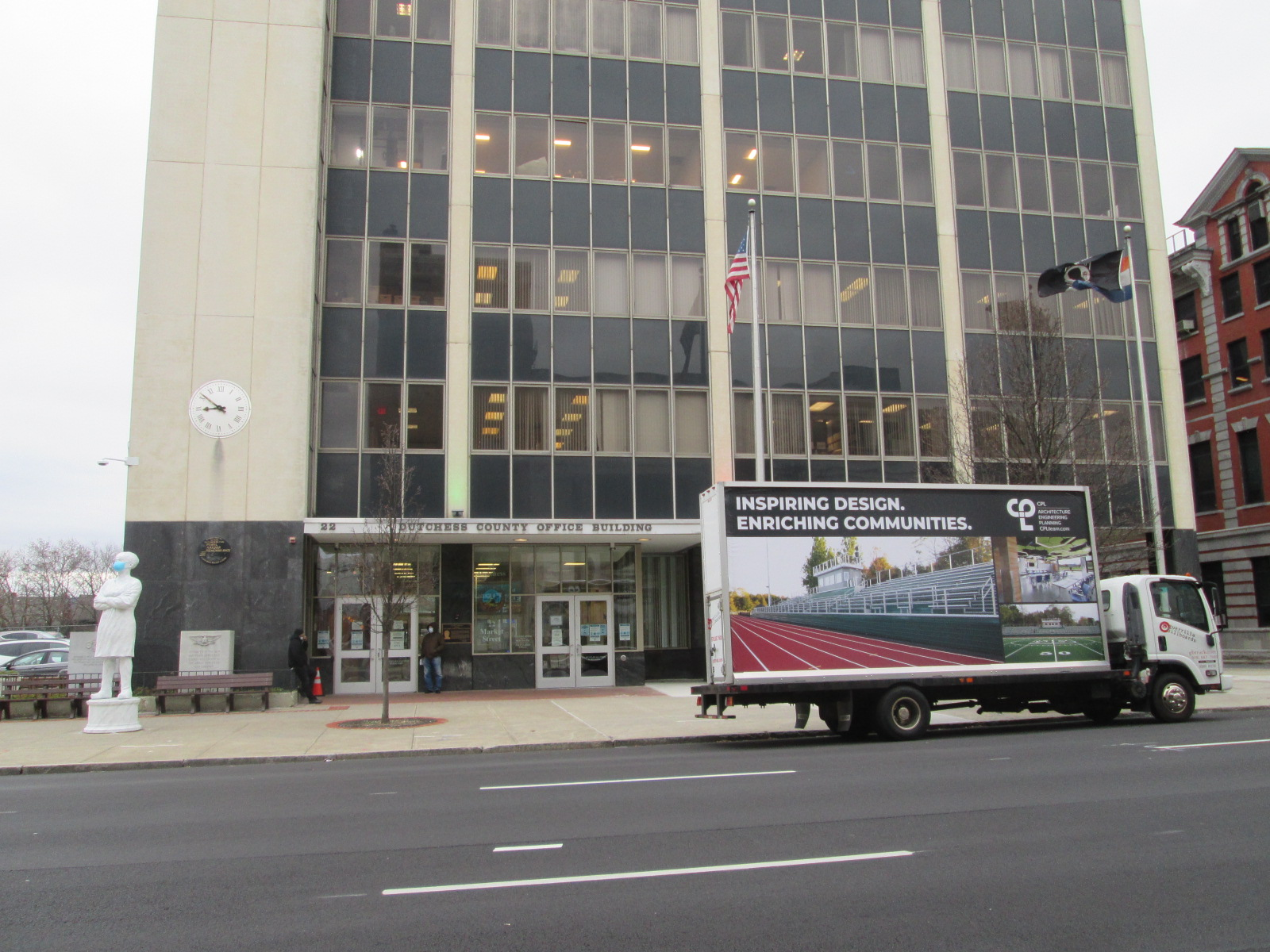Billboard truck stopped in front of the Dutchess County Office Building in Poughkeepsie NY