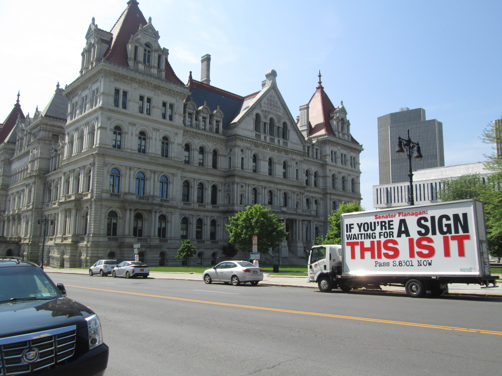 2018 NYSUT convention mobile billboard stopped in front of the NY State Capitol in Albany NY