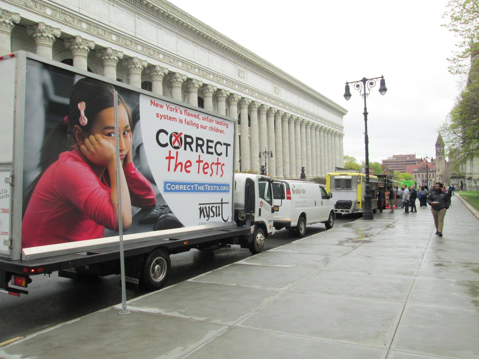 NYSUT billboard truck parked in Albany NY