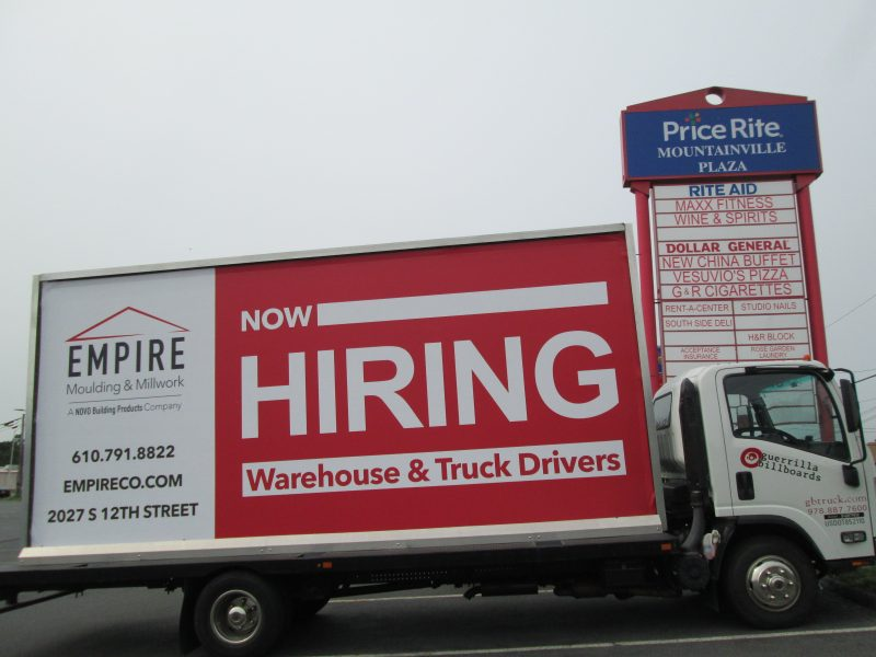 Now Hiring ad on a mobile billboard truck in Lehigh Valley PA
