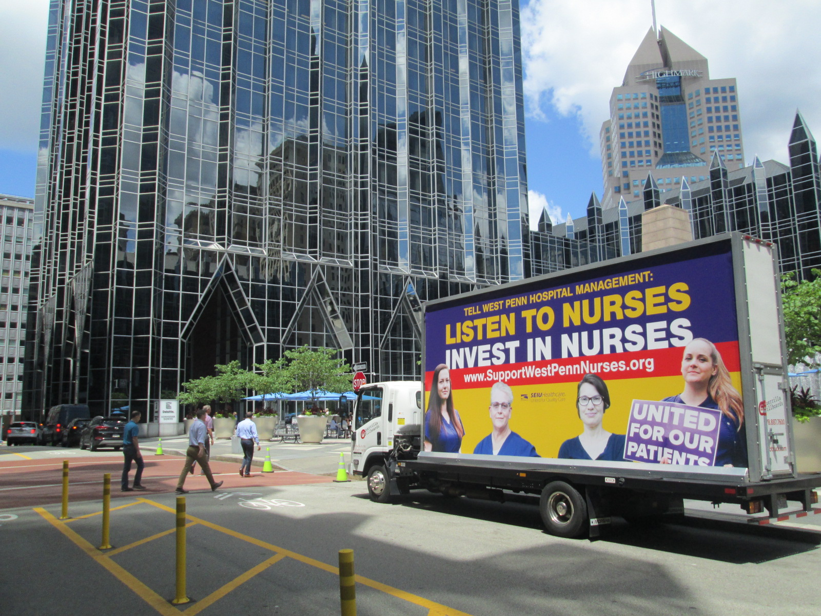 West Penn Nurses mobile billboard ad in downtown Pittsburgh