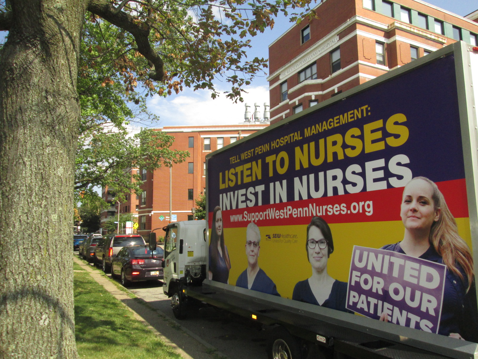 Mobile billboard at West Penn Hospital in Pittsburgh