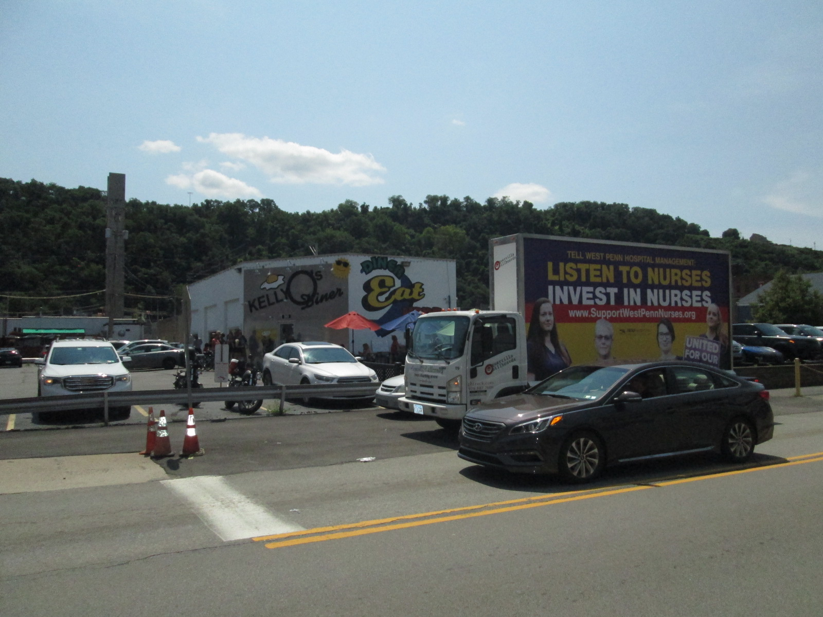 Mobile billboard along the in Pittsburgh
