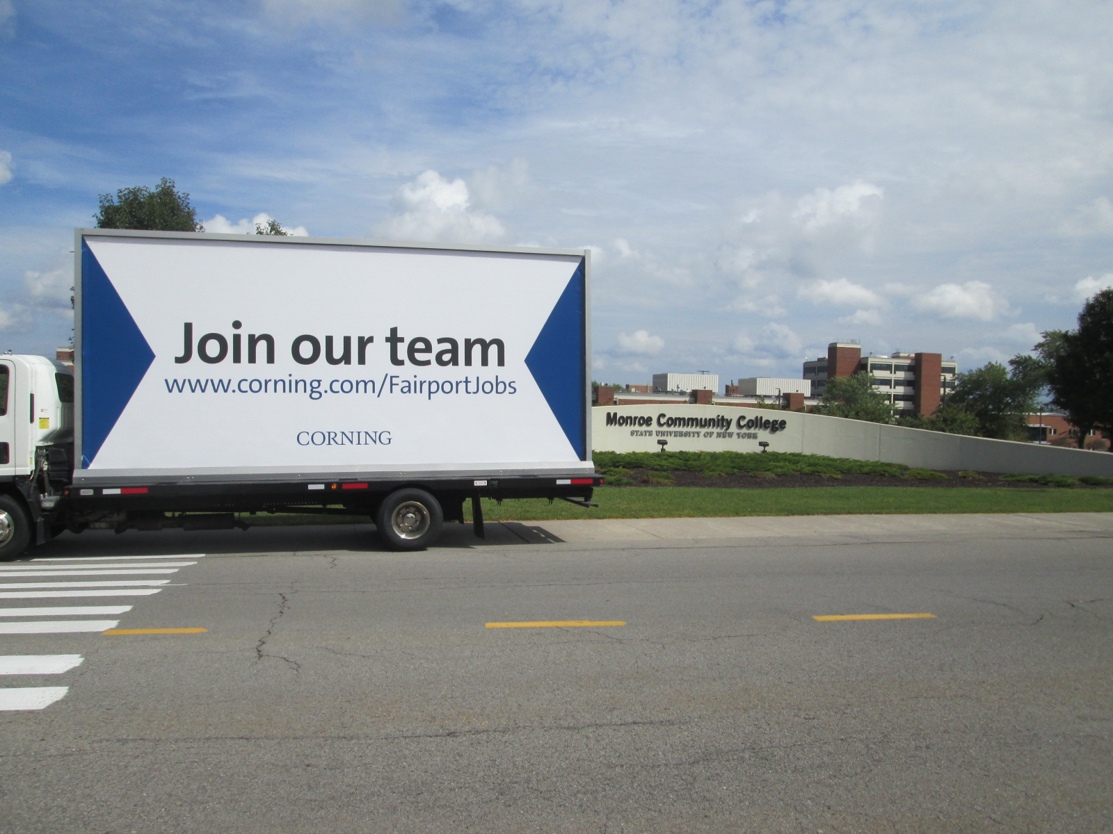 Join Our Team Mobile Billboard at Monroe Community College